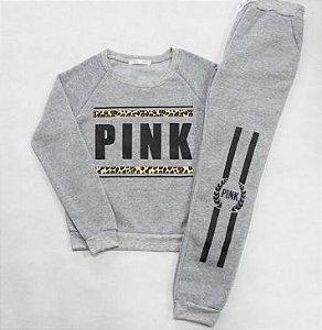 Conjunto de Moletom Cinza - Pink Leo
