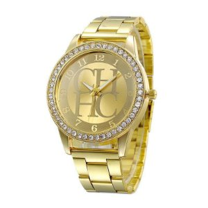 Relogio Feminino Dourado CHHC Personalizado