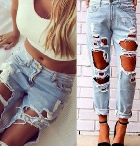 Calça Jeans Rasgada Feminina - Dive