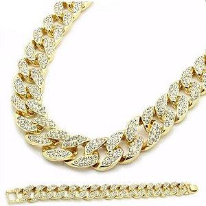 Kit Corrente e Pulseira - Gold and Diamond