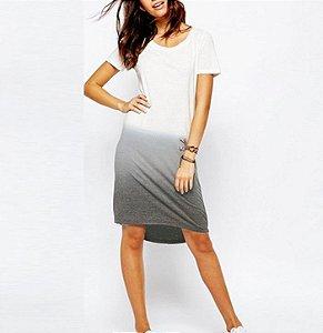 Vestido Feminino Degradê - Branco/Cinza