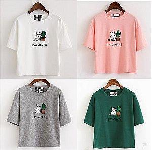 Camiseta Feminina - CAT CACTUS