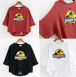 Camiseta Feminina Destroyed - Jurassic Park