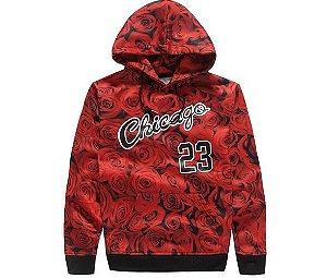Moletom Chicago Bulls 23 - FLOWER RED (unissex)