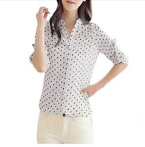 Camiseta Manga Longa Feminina Estampada Bolinhas