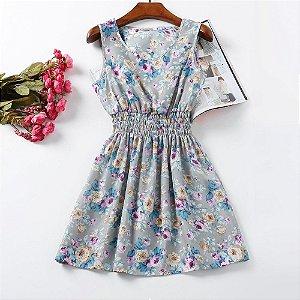 Vestido Estampado Floral Cinza