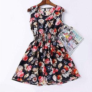 Vestido Estampado Floral Preto