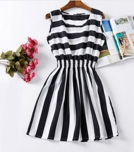 Vestido Listrado Preto/Branco