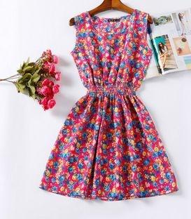 Vestido Estampado Flores Rosas
