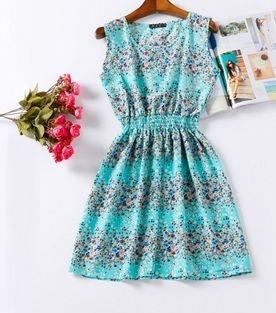 Vestido Estampado Flores Azul Claro