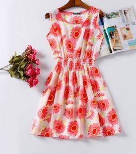 Vestido Estampado Com Flores Vermelhas