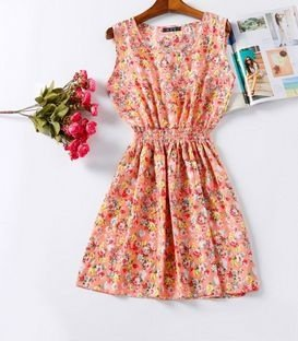 Vestido Estampado Flores Laranja Claro