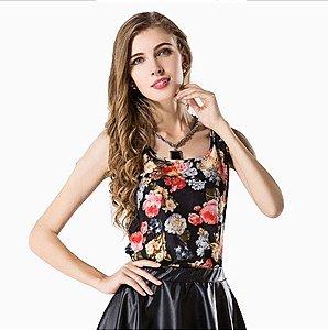 Blusa Feminina Estampada Floral Preta