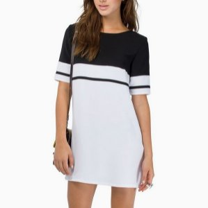 Vestido Casuel Preto/Branco Com Ziper Nas Costas