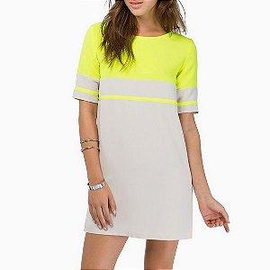 Vestido Casuel Amarelo/Branco Com Ziper Nas Costas
