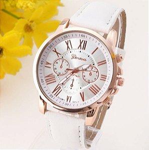 Relógio Feminino Geneva - Pulseira De Couro Branca