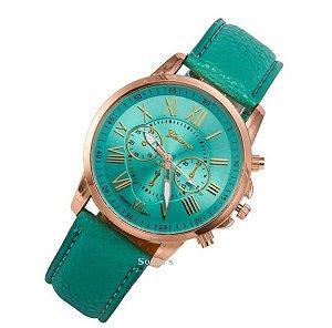 Relógio Feminino Geneva - Pulseira De Couro Verde Agua