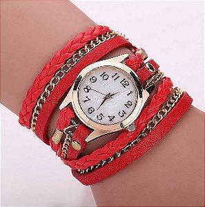 Relógio / Bracelete Com Pulseira De Couro Vermelha Quartzo