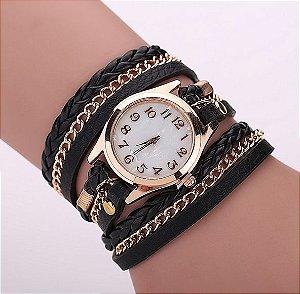 Relógio / Bracelete Com Pulseira De Couro Preto Quartzo