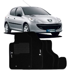 Tapete Carpete Perso Flash Peugeot 207 Preto 5 Pçs