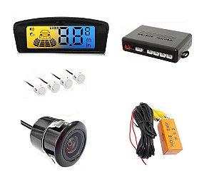 Sensor de Ré LCD 4 sensores + Câmera Ré de embutir
