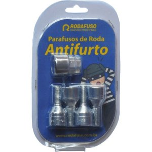Jogo Parafuso Roda Antifurto 12x1,25 Fiat Peugeot Citroen