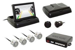 Sensor Re Estacionamento c/câmera Flip-Down Tela 4,3 Prata