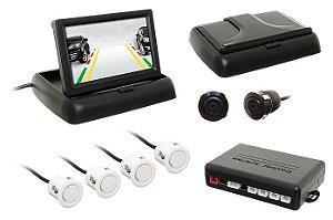 Sensor Re Estacionamento câmera Flip-Down Tela 4,3 Branco