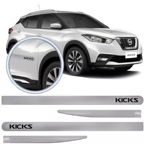 Jogo Friso Flash Lateral Slim Nissan Kicks 16 Branco Diamond