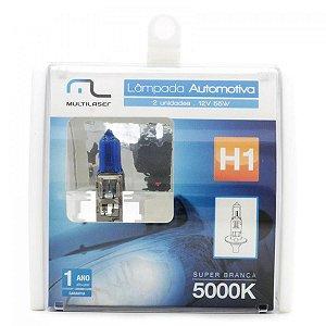 Par Lâmpadas Multilaser H1 12V 55W Super Branca 5000K