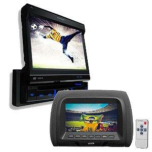 Encosto de Cabeça H-Tech 7 Polegadas + DVD SP6700 Pósitron