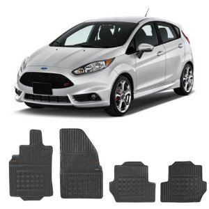 Kit Tapete Borracha Borcol New Fiesta Hatch+Túnel+Porta Mala
