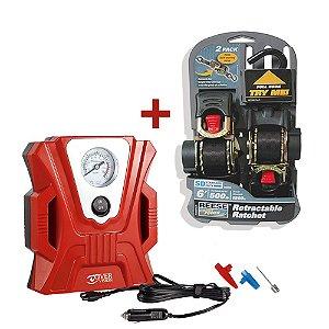 Kit com 2 Cintas Reese com 1,8M Catraca Retrátil + Compressor 3 Bicos