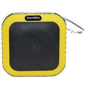 Caixa Acústica Bluetooth V4 Portátil com mosquetão - Amarelo