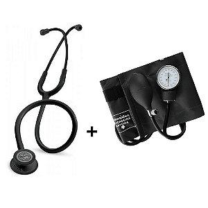 Estetoscópio Littmann Classic III Black Edition + Esfigmomanômetro Premium Preto