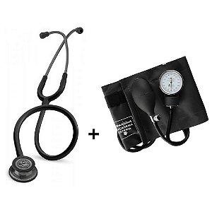 Estetoscópio Littmann Classic III Black Smoke + Esfigmomanômetro Premium Preto