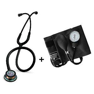 Estetoscópio Littmann Classic III Black Rainbow + Esfigmomanômetro Premium Preto