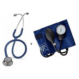 Estetoscópio Littmann Classic III Azul Marinho + Esfigmomanômetro Premium Azul