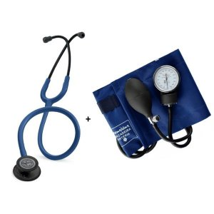 Estetoscópio Littmann Classic III Azul Marinho Black + Esfigmomanômetro Premium Azul