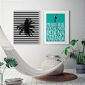 Conjunto 2 Quadros Decorativos - Coqueiro Listras Preto e Branco + Frase Rede na Varanda