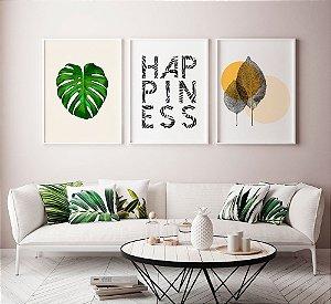 Conjunto 3 Quadros Decorativos Fundo Branco - Folhas + Costela Adão + Frase Happiness