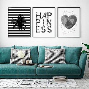 Conjunto 3 Quadros Decorativos Minimalistas - Coqueiro Listrado, Frase Happiness, Coração Geométrico