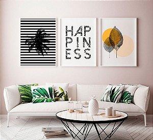 Conjunto 3 Quadros Decorativos Minimalistas - Coqueiro Listrado, Frase Happiness, Natureza Duas Folhinhas