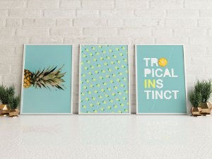 Conjunto 3 Quadros Decorativos Tropical Instinct - Abacaxi, Frase, Azul Claro