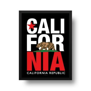 Quadro Decorativo Poster California Republic - Estrela, Urso