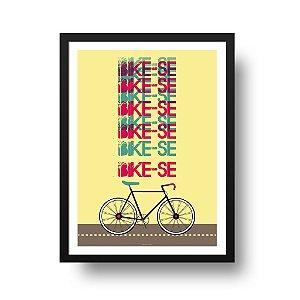 Quadro Decorativo Poster Esporte Bicicleta - Frase Bike-se, Fundo Amarelo