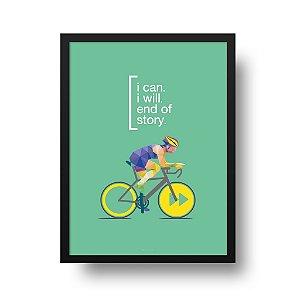 Quadro Decorativo Poster Esporte Ciclismo I Can - Bicicleta, Frase, Motivacional