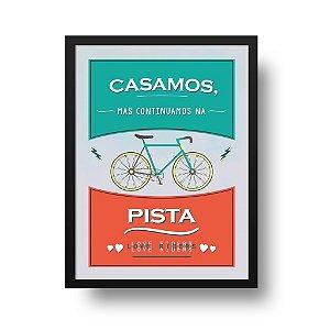 Quadro Decorativo Poster Esporte Cliclismo Casal - Frase, Bicicleta, Casamento