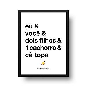 Quadro Decorativo Poster Eu e Você - Frase, Amor, Namorados, Casal