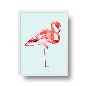 Quadro Decorativo Poster Flamingo - Rosa, Fundo Azul Claro